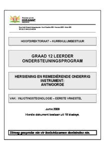 GRAAD 12 LEERDER ONDERSTEUNINGSPROGRAM