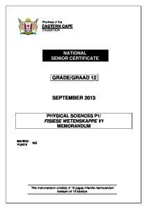 GRAAD 12 SEPTEMBER 2013