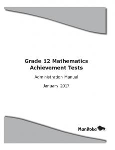 Grade 12 Mathematics Achievement Tests. Administration Manual