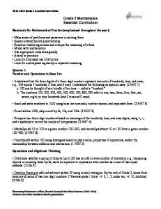 Grade 2 Mathematics Essential Curriculum