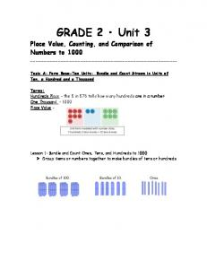 GRADE 2 Unit 3. Place Value, Counting, and Comparison of Numbers to 1000