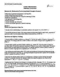 Grade 3 Mathematics Essential Curriculum