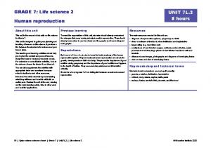 GRADE 7: Life science 2. UNIT 7L.2 8 hours. Human reproduction. Resources. About this unit. Previous learning. Expectations