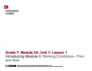 Grade 7: Module 2A: Unit 1: Lesson 1 Introducing Module 2: Working Conditions Then and Now