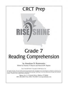 Grade 7 Reading Comprehension by Jonathan D. Kantrowitz