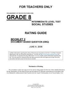 GRADE 8 INTERMEDIATE-LEVEL TEST SOCIAL STUDIES