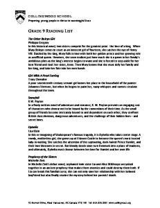 Grade 9 Reading List COLLINGWOOD SCHOOL