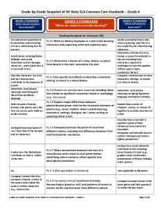 Grade-by-Grade Snapshot of NY State ELA Common Core Standards Grade 4 GRADE 5 STANDARDS