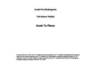 Grade Pre-Kindergarten. Life Science Module. Seeds To Plants