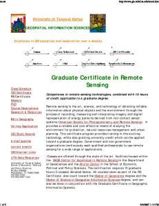Graduate Certificate in Remote Sensing