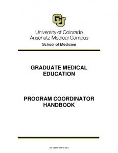 GRADUATE MEDICAL EDUCATION PROGRAM COORDINATOR HANDBOOK