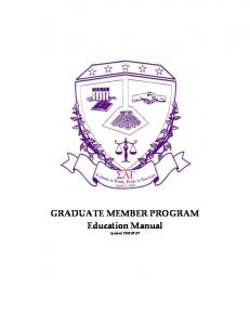 GRADUATE MEMBER PROGRAM Education Manual. Updated