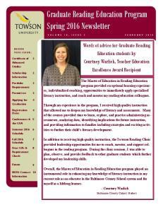 Graduate Reading Education Program Spring 2016 Newsletter