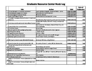 Graduate Resource Center Book Log