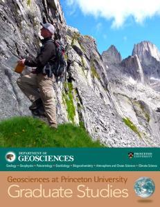 Graduate Studies. Geosciences at Princeton University GEOSCIENCES