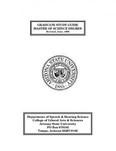 GRADUATE STUDY GUIDE MASTER OF SCIENCE DEGREE Revised, June, 1998
