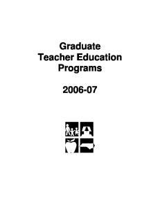 Graduate Teacher Education Programs