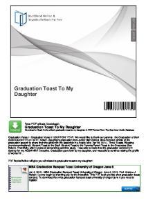 Graduation Toast To My Daughter