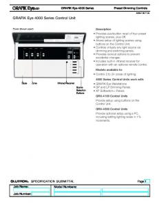 GRAFIK Eye 4000 Series Control Unit
