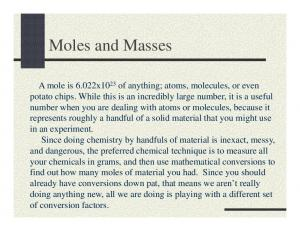 Grams of elements to moles