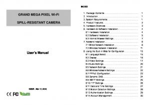 GRAND MEGA PIXEL Wi-Fi SPILL-RESISTANT CAMERA. User s Manual INDEX