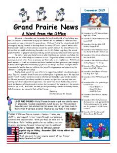 Grand Prairie News. A Word from the Office. December 2015
