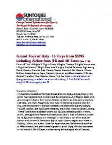 Grand Tour of Italy - 16 Days from $3395