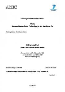 Grant Agreement number ARTIC Antenna Research and Technology for the Intelligent Car. Deliverable D1.1 Smart car antenna needs review
