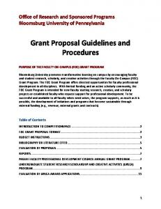 Grant Proposal Guidelines and Procedures