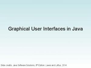 Graphical User Interfaces in Java