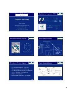 Graphics Hardware. Raster versus vector displays. Vector graphics system. Drawbacks of vector display. Raster Graphics System