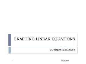 GRAPHING LINEAR EQUATIONS COMMON MISTAKES