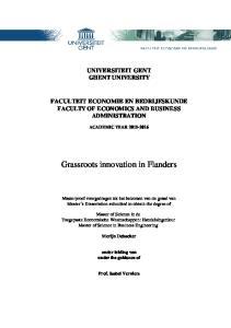 Grassroots innovation in Flanders