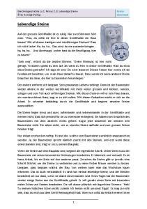 Gratisdownload. Gleichnisgeschichte zu 1. Petrus 2, 5: Lebendige Steine by Semaja-Verlag. Lebendige Steine