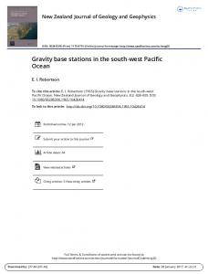 Gravity base stations in the south-west Pacific Ocean
