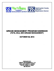 GREASE MANAGEMENT PROGRAM HANDBOOK (FATS, OILS, AND GREASE MANAGEMENT)
