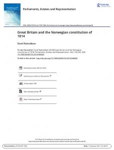 Great Britain and the Norwegian constitution of 1814