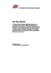 Great Britain Wheelchair Basketball Association. Fair Play Charter