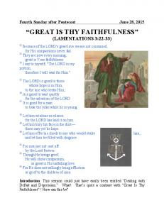 GREAT IS THY FAITHFULNESS (LAMENTATIONS 3:22-33)