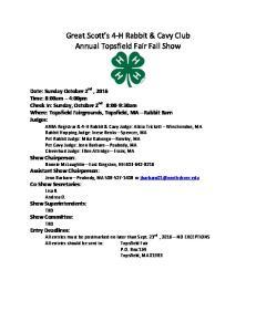 Great Scott s 4- H Rabbit & Cavy Club Annual Topsfield Fair Fall Show