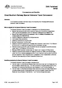 Great Southern Railway Special Veterans Travel Concession