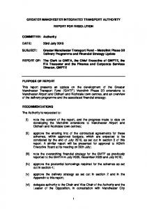 GREATER MANCHESTER INTEGRATED TRANSPORT AUTHORITY REPORT FOR RESOLUTION