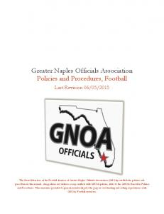 Greater Naples Officials Association Policies and Procedures, Football