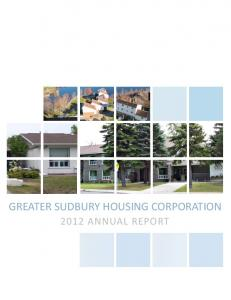 GREATER SUDBURY HOUSING CORPORATION 2012 ANNUAL REPORT