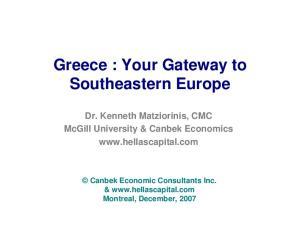 Greece : Your Gateway to Southeastern Europe
