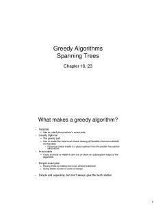 Greedy Algorithms Spanning Trees