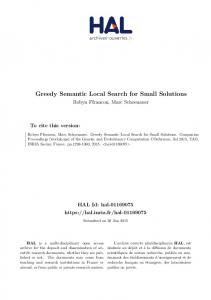Greedy Semantic Local Search for Small Solutions
