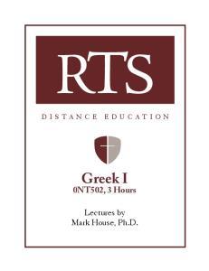 Greek I 0NT502, 3 Hours