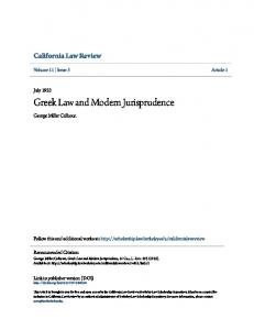 Greek Law and Modern Jurisprudence