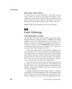 Greek Mythology. Read, Write, Think, Discuss. Greek Mythology in Context